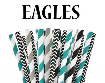 FOOTBALL Game day PARTY Paper Straws assorted 30 EAGLES Midnight Emerald Green, Grey and Black paper straws - Tailgating - Game Day