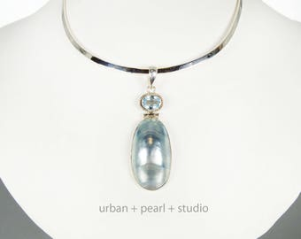 Blue Mabe Pearl Pendant Beach Wedding Nautilus Shell Blue Topaz Pendant Bridesmaids Gift
