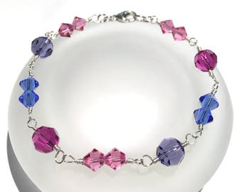 Swarovski Bracelet, Multicolor Bracelet, Beaded Jewelry, Mixed Color Bracelet, Swarovski Crystal Bead Bracelet, Crystal Bracelet