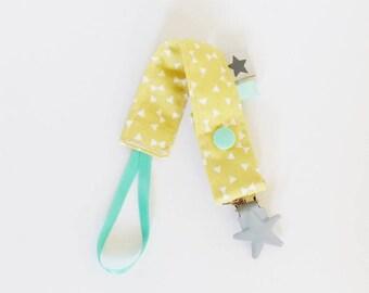 Pacifier clip-geometric pattern fabric / yellow / gray / mint