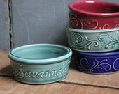 Pet Bowl, EXTRA LARGE, Custom Name, Personalized, Dog, Dish, White, Teal Green, Cranberry, Cobalt Blue, Made to Order