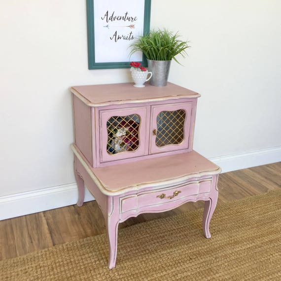 French Provincial Nightstand - Shabby Chic Furniture - Bedroom Side Table - Distressed Furniture - Bedside Cabinet, French Country Furniture