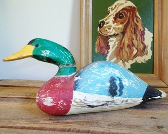 Vintage Unsigned Mallard Drake Duck Decoy – has been repaired
