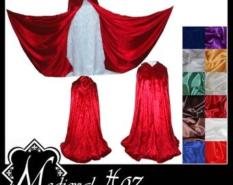 Red Crushed Velvet Cloak lined with a Shimmer Satin of your choice. LARP Medieval Wedding Hand fasting Red Riding Hood. Made To Measure. NEW