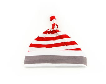 Baby Top Knot Hat (Medium Red Stripes/Big Grey Stripes) ||| baby shower gift, newborn hat, newborn take home outfit, baby jersey hat