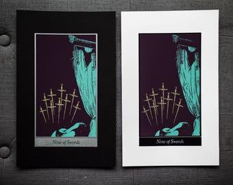 "Nine of Swords • 8x12"" Screen print by Amalia Kouvalis"