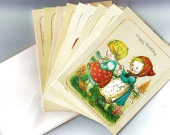 "Set of 10 Vintage Collectors Greeting Cards from ""Help the Children"" Glendale CA 5.5"" x 4.25"" Fall Harvest Halloween Theme Card w Scripture"