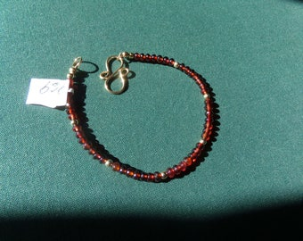 Garnet bracelet 14k gold filled red brown item 969