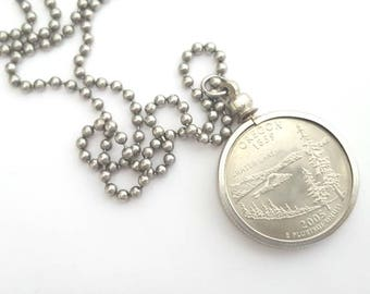 Oregon State Quarter Coin Necklace with Stainless Steel Ball Chain or Key-chain - 2005 - Crater Lake