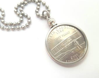 North Carolina State Quarter Coin Necklace with Stainless Steel Ball Chain or Key-chain - 2001 - First Flight