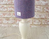 Harris Tweed drum lampshade pink blue herringbone handwoven wool fabric table lamp shade
