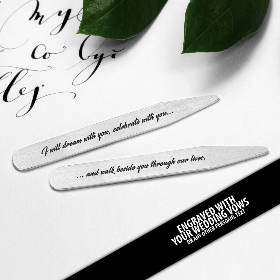 Personalized Collar Stays engraved with your wedding vows - Mens ...