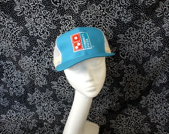80s Dominos Pizza Trucker Cap. Retro Mesh Snapback Baby Blue Dominos Pizza Hat. Pizza Lover Gift Hat. 80s Corporate Logo Pizza Dominos Hat