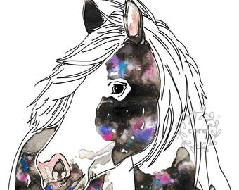 Galaxy Horse watercolour and digital illustration