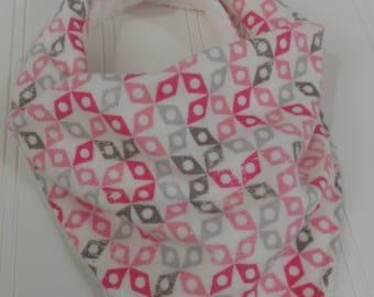Bandanna Baby Bib - Pink & Gray