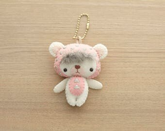 Geometric Bear Initial Mint charm Felt Keychain -  cute accessories -  Letter Initial Charm - Spring Bear plush - READY TO SHIP