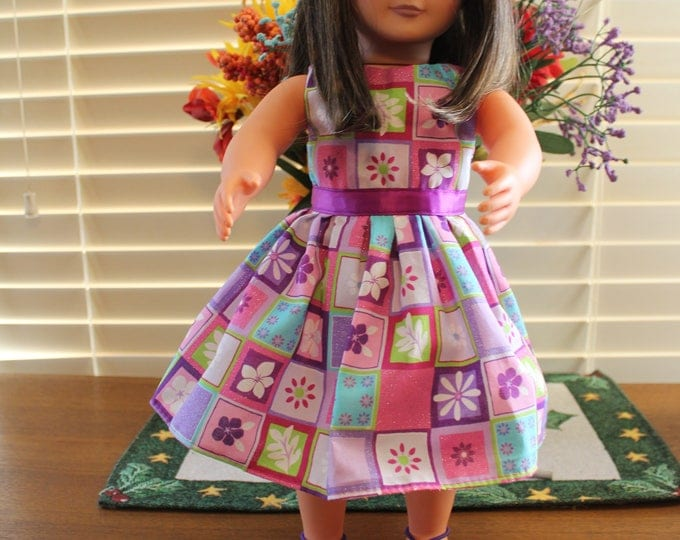 Ready to Party Spring Flowers Print with Purple Ribbon Dress Purple Bling Shoes  Made to fit the AG and other 18 inch dolls FREE SHIPPING