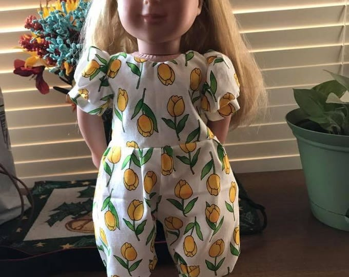 Easter /Spring Tulip Print Jumper, Shoes and headband Handmade for the dolls like American Girl and other 18 inch dolls. FREE SHIPPING