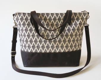 """Waxed Canvas Screen Print Crossbody Tote Bag with Leather Straps - """"Thalia"""" White/Brown, School Bag, Work Bag, Tote Bag, Waxed Canvas Tote"""