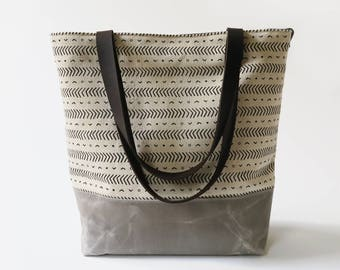 """Waxed Canvas Print Tote Bag with Leather Straps - """"Coastal"""" White/Gray, School Bag, Work Bag, Tote Bag, Waxed Canvas Tote, Gray Canvas Bag"""