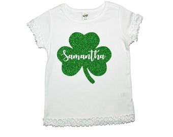 personalized shamrock shirt, glitter shamrock shirt, Girl Shamrock Shirt, kids shamrock shirt, st Patrick day shirt, st patricks outfit