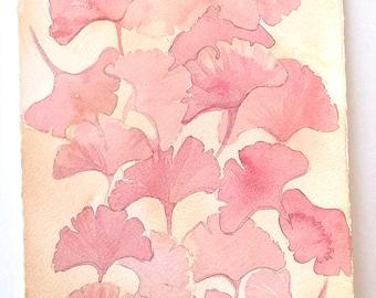 Watercolour painting original, Pink Ginkgo leaves artwork , Nature art work, Botanical painting, Home decor, Kitchen decor, Rakla17