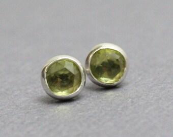 Peridot Stud Earrings, Peridot Post Earrings, 4mm Peridot Earrings, Peridot Studs, Peridot Earrings, Green Stud Earrings, Kathy Bankston