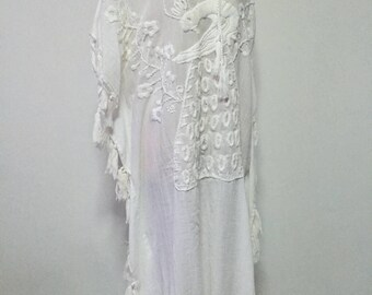 Cotton Maxi Dress Hand Embroidered Long Dress, White Dress, Long Poncho, Beach Dress