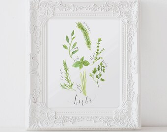 Kitchen Wall Art, Kitchen Decor, Wall Art, Herb Art, Herb Decor, Kitchen Painting, Herb poster, Watercolor Herbs