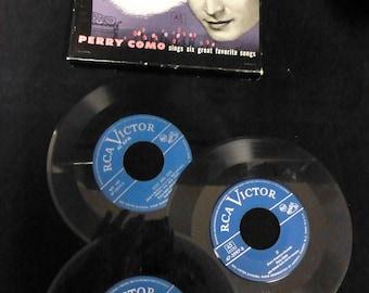 """Perry Como 45's in Original Box---3 records (7"""" vinyl)          #376"""