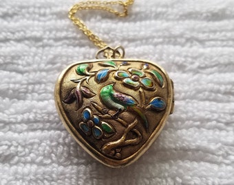 Vermeil Enamel Heart Locket Necklace with Birds and Flowers