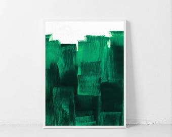 Charmant Jade Green Print, Simple Painting, Abstract Painting, Bright Green Painting  Print, Green