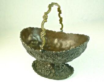 EMBOSSED FLORAL BOWL Basket, Bronzed Metal w/ Handle, Pedestal Foot, Japan