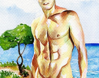 "PRINT Original Art Work Watercolor Painting Gay Male Nude ""From the sea"""