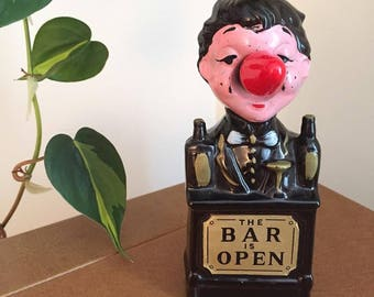 Mid Century 'Bar is Open' Charlie Chaplin ceramic lamp made in Japan