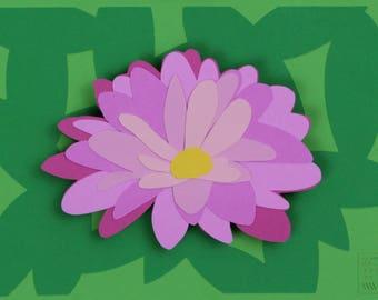 Pink Flower Layered Paper 3D Art