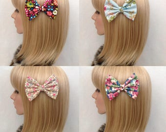 Brown floral blue cream pink flower hair bow clip rockabilly kitsch kawaii pin up girl shabby chic pretty cute vintage retro