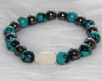 Boho Beaded Bracelet: Blue and Black Marble Beads with White Buddha Bead
