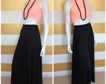 30% OFF Vintage 70s High Waisted MAXI Skirt - Full Length - Long -  Floor Length - Black - Full Skirt