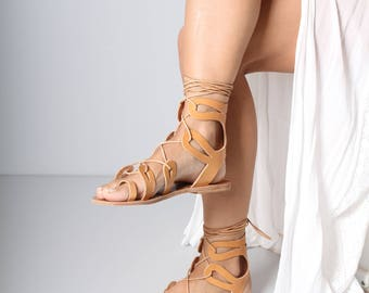 Strappy Womens Leather Sandals, Womens Strappy Leather Sandals, Boho Sandals, Vegetable Tanned Leather Sandals, Womens EU 39, Womens US 8.5