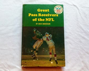 """Vintage 60's Hardcover Football Book, """"Great Pass Receivers of the NFL"""" by Dave Anderson, Part of the Punt Pass and Kick Library, 1966."""