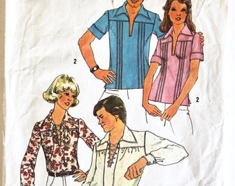 Vintage Sewing Pattern 1970s Women's Lace-Up  Shirt  Size 8  Simplicity 6957