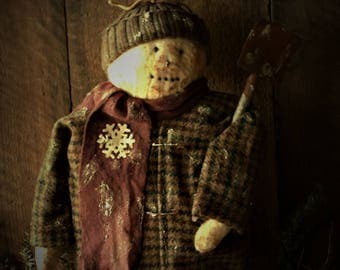 Primitive Grungy Winter/Holiday Snowman Sitter Doll