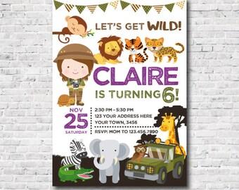 Safari Invitation, Jungle Birthday Invitation, Zoo Birthday Invitation, DIGITAL, 2 Options