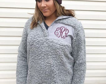 Ready to Ship / Monogram Sherpa Pullover, Sherpa Fleece Pullover, Monogram Sherpa Jacket