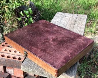 Walnut/Birch Lap Desk Box with unique stain