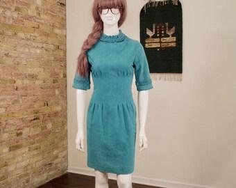 60s leather dress / blue leather dress / suede dress / sheath dress / ruffle neck / high neck dress / bell sleeve / 60s mini / wiggle dress