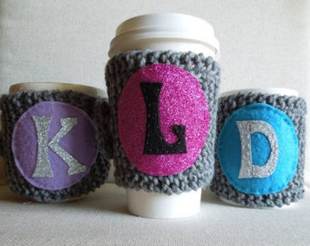 Personalized Coffee Cozy, Initial Mug Cozy, Monogram Cup Cozy, Mug Sweater,Coffee Sleeve, Gift for Her, Gift for Coffee Lover