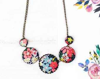Floral statement necklace handmade from Liberty fabric covered buttons