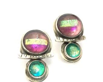 Barbara Sucherman Modernsit Sterling Silver Earrings, Dichroic Art Glass, Pierced Drop Earrings, Vintage 1980s, Hallmarked Sterling